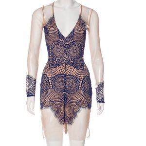 For love and lemons crochet lace mesh club dress S